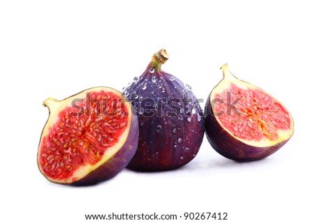 Delicious figs with water drops - stock photo