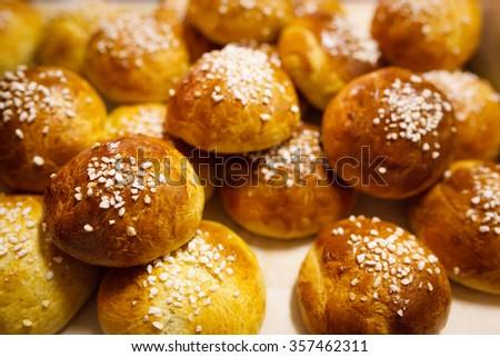 Delicious finnish sugar buns - stock photo
