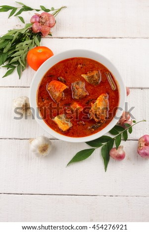 Delicious  fish curry  dish from Asian cuisine. - stock photo
