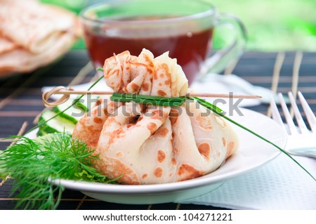 delicious flavored pancakes for breakfast - stock photo
