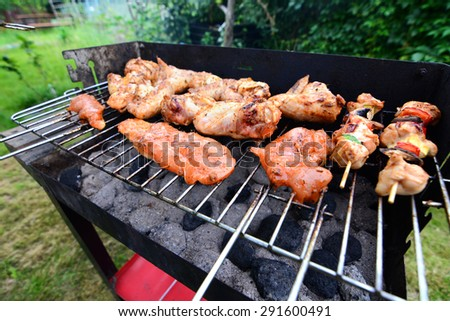 Delicious food grilling on a grill in garden - stock photo