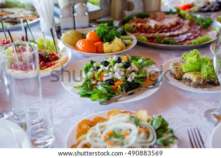 Delicious food on the table in restaurant
