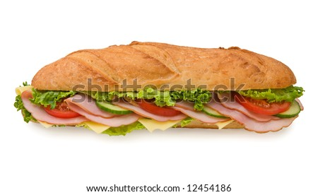Delicious foot-long submarine sandwich with ham, swiss cheese, lettuce, tomatoes and cucumbers isolated on white background, front view