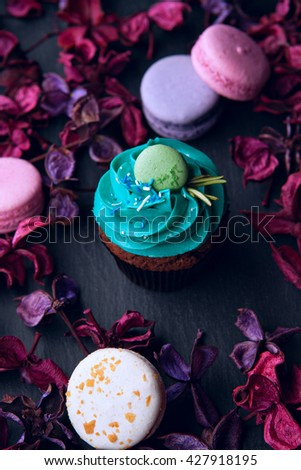 delicious French dessert macarons and cupcake on a black background - stock photo