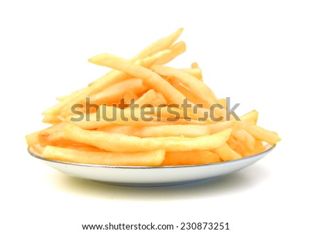 delicious french fries in plate on white background  - stock photo