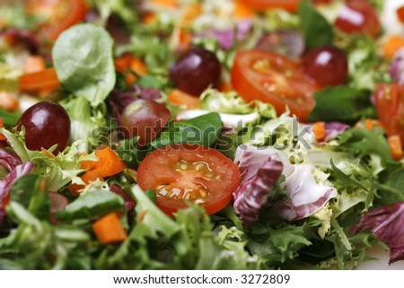 Delicious fresh and healthy salad with lettuce and tomatoes - stock photo