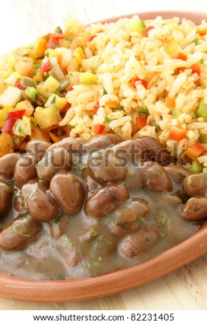 delicious fresh and hot, beans and rice plate. - stock photo