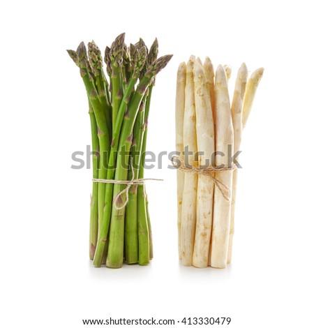 Delicious fresh asparagus on white background - stock photo