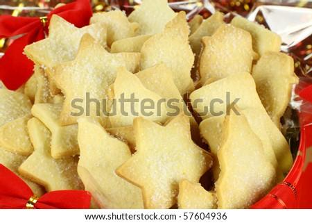 Delicious fresh baked Christmas shortbread in a Xmas tin. - stock photo