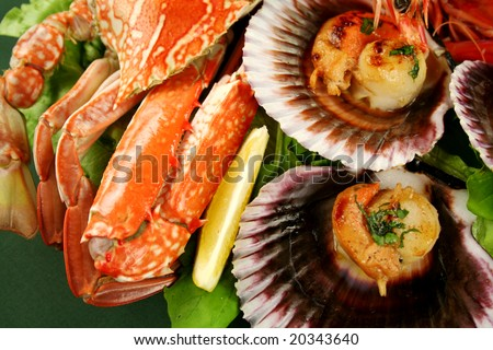 Delicious fresh cooked crab with sea scallops in the shell. - stock photo