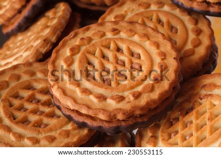 delicious fresh cookies as background - stock photo