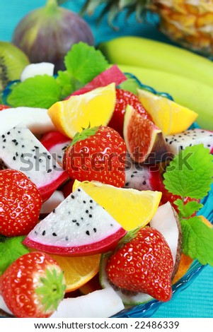 Delicious fresh fruits in bowl as dessert