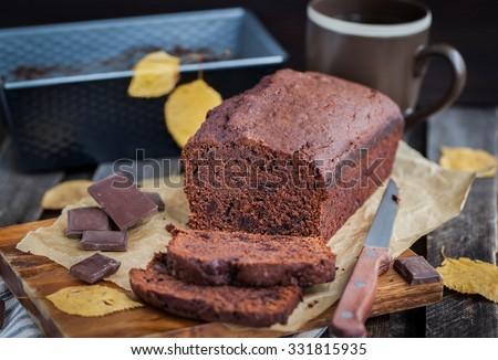 Delicious fresh homemade chocolate banana bread (cake) - stock photo