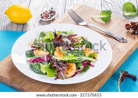 delicious fresh low-calories salad with chicken breast and  lettuce leaves: baby spinach, swiss chard, radicchio rosso in the white dish on the cutting board, view from above - stock photo