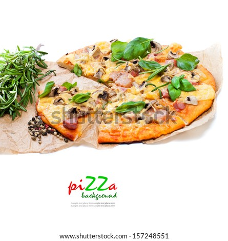 Delicious fresh pizza isolated in white  - stock photo