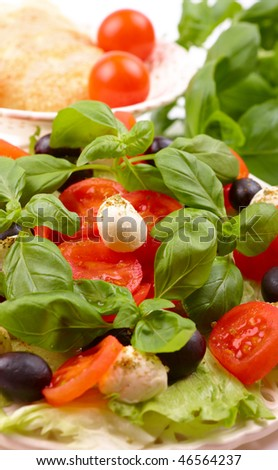 Delicious, fresh salad with basil, mozzarella, olives and tomato. Italian style