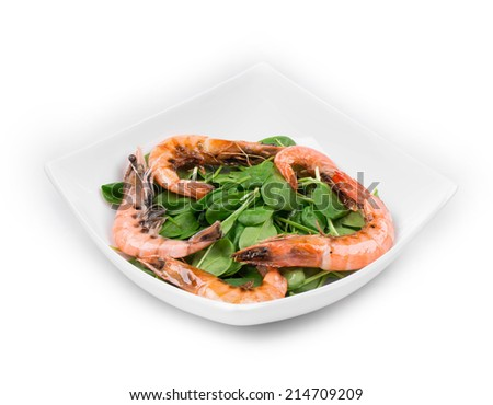 delicious fresh shrimps with salad isolated on a white