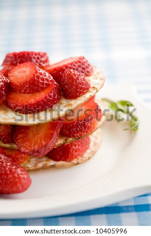 Delicious fresh strawberries on toast served on a plate