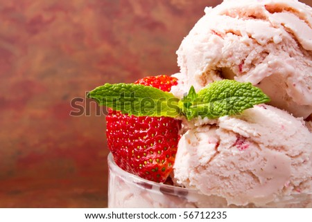 Delicious fresh strawberry ice cream - stock photo