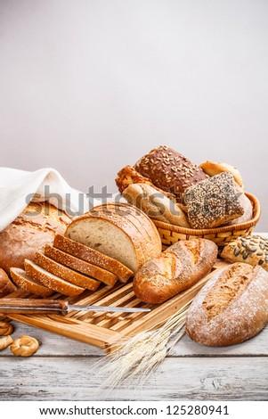 Delicious, fresh, whole wheat sliced bread - stock photo