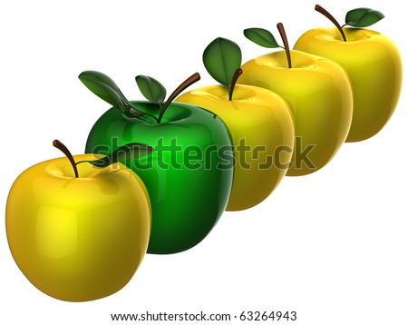 Delicious fresh yellow apples with single green one in a row. Teamwork leadership concept. This is detailed 3D render (Hi-Res). Isolated on white. - stock photo
