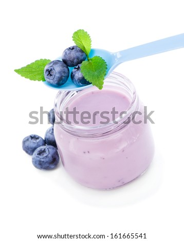 Delicious fresh yogurt with blueberries and  mint  - stock photo