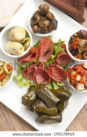 Delicious freshly prepared antipasto mezze platter cosisting of a variety of mediterranean foods. - stock photo