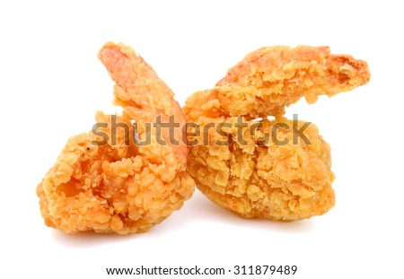delicious fried shrimps on white background