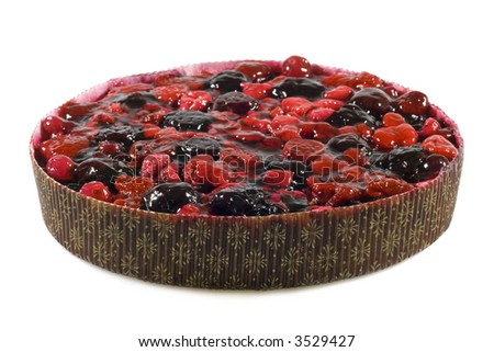 Delicious fruit pie with berries isolated on white background. - stock photo