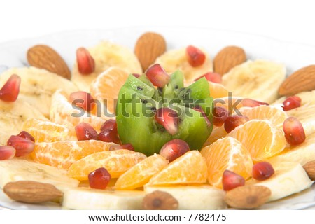 delicious fruit salad made of set of pills in blisters