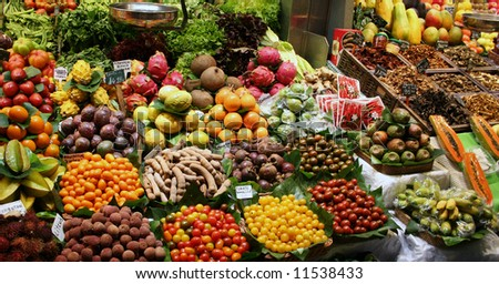Delicious fruits for sale in market - stock photo