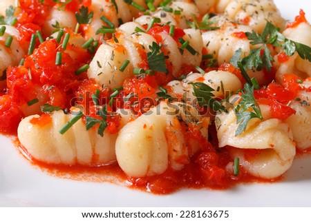 delicious gnocchi with tomato sauce and fresh herbs on a white plate. macro. horizontal   - stock photo