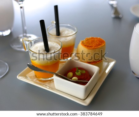 Delicious gourmet food on dish - stock photo