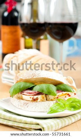 Delicious Gourmet Sandwich and Red Wine - stock photo