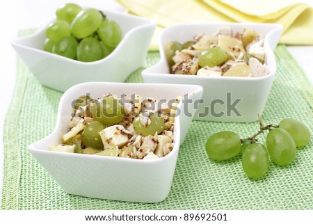 Delicious grapes salad with chicken and cheese - stock photo