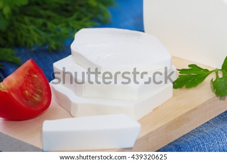 Delicious Greek feta cheese and fresh vegetables - stock photo