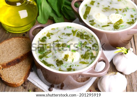 Delicious green soup with sorrel on table close-up - stock photo