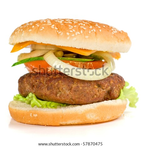 Delicious grilled burger on wheat buns isolated on a white