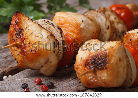 delicious grilled chicken kebab with vegetables on wooden skewers closeup. horizontal