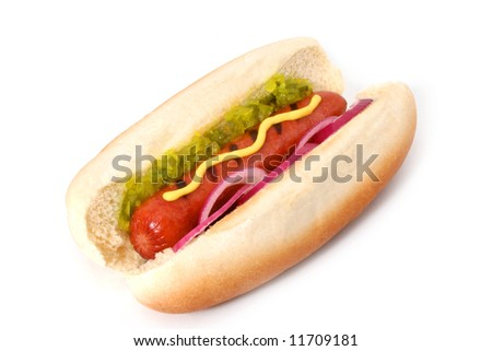 Delicious Grilled Hot Dog with the works: mustard, sweet relish and onions - stock photo