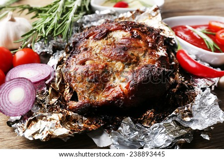 Delicious grilled meat on table - stock photo