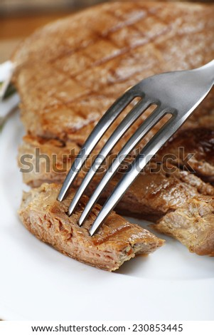 Delicious grilled meat on table, close-up - stock photo