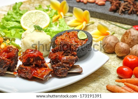 delicious grilled ribs - stock photo
