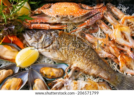 delicious grilled seafood - stock photo