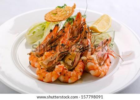 delicious grilled shrimps restaurant appetizer - stock photo