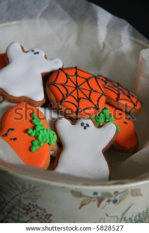 Delicious Halloween biscuits in a tin - stock photo