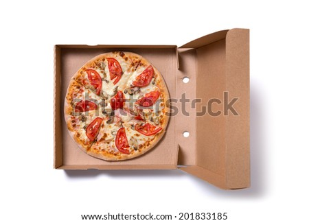 Delicious ham pizza in box, isolated on white background  - stock photo
