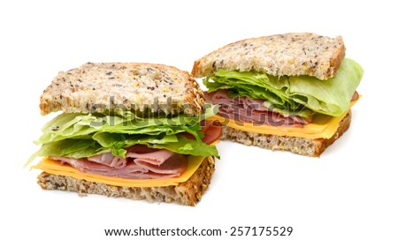 delicious ham sandwich with cheese and salad  - stock photo