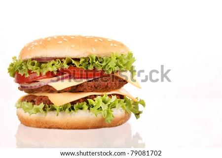 Delicious hamburger isolated on white background - stock photo