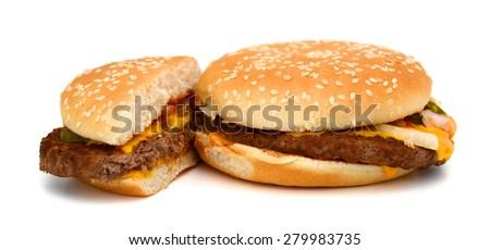delicious hamburger on white background  - stock photo